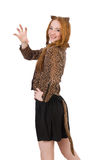 Young lady in leopard blouse isolated on white. The young lady in leopard blouse isolated on white Royalty Free Stock Photography
