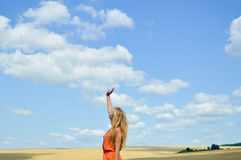 Young lady lifting arm standing in golden field Stock Photography