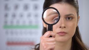 Young lady looking through lens to cam, pupil examination, eye cornea genetics