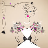 Young lady in lovely dress. With romantic decoration elements Royalty Free Stock Image