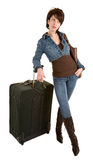 Young Lady with Luggage Waiting Stock Images