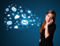 Young lady making phone call with message icons Stock Images