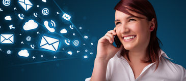 Young lady making phone call with message icons Stock Photography