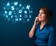 Young lady making phone call with shiny characters Stock Images
