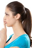 Young lady making silence sign Royalty Free Stock Photos