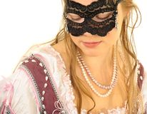 Young lady in mask. Isolated image Royalty Free Stock Images