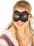 Young lady in mask. Happy young lady in mask. Isolated image Royalty Free Stock Images