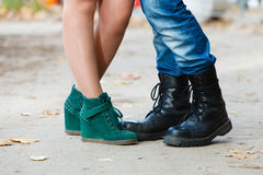 Young lady meeting rough boy. Stock Images