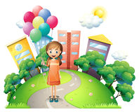 A young lady in the middle of the road with balloons vector illustration
