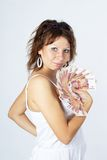 Young Lady with money Royalty Free Stock Photo