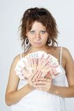 Young Lady with money Royalty Free Stock Image