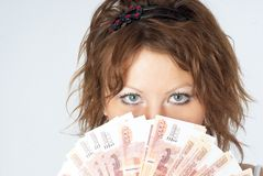 Young Lady with money Stock Photos