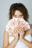 Young Lady with money Stock Images