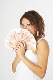 Young Lady with money Royalty Free Stock Photos