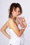 Young Lady with money Stock Photo