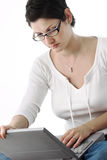 Young lady is online Stock Image