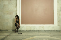 Young lady in palace Stock Photography