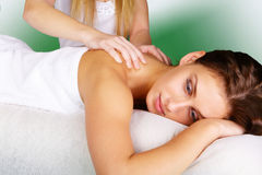 Young lady pampering massage Stock Photography