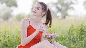 Young lady on picnic stock video footage