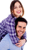 Young lady on piggyride Stock Photo