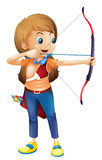 A young lady playing archery Royalty Free Stock Image