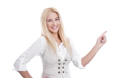 Young lady pointing something Royalty Free Stock Image