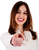 Young lady pointing at you Stock Image