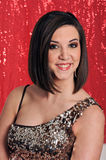 Young lady posed on red background. In evening dress Royalty Free Stock Photography