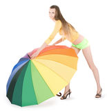 Young lady posing with color umbrella Royalty Free Stock Photos