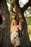 Young lady posing by the tree Royalty Free Stock Image