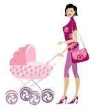 Young lady and pram. Young trendy mother pushing pram royalty free illustration
