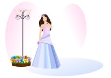 Young lady in prom dress, cdr vector royalty free illustration