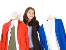 Young lady purchasing clothes. Isolated on white Stock Images