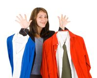 Young lady purchasing clothes Stock Photo