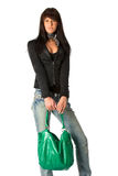 Young lady with purse Royalty Free Stock Photography
