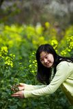 Young lady in  rapeseed flower fields Stock Photos