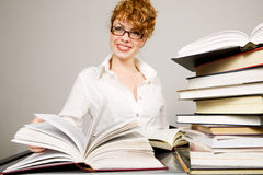 Young lady reading  book Stock Image
