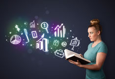 Young lady reading a book with business icons Stock Image