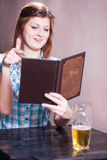 Young lady ready to order Royalty Free Stock Photos