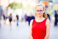 Young lady in red dress Stock Photo