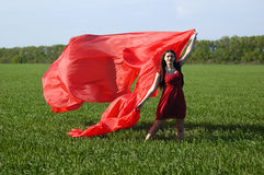 Young lady in red dress on field Royalty Free Stock Photo