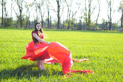 Young lady in red dress on field Royalty Free Stock Image