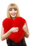Young lady with red heart. Royalty Free Stock Photos