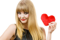 Young lady with red heart. Royalty Free Stock Photography