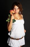 Young Lady with red rose Royalty Free Stock Images