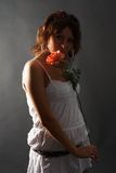 Young Lady with red rose Stock Photography