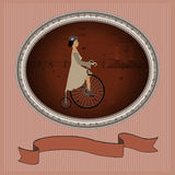 A young lady and a retro bike as an invitation framed Royalty Free Stock Photo