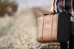 Young lady with retro suitcase on railway. Travel Royalty Free Stock Photo
