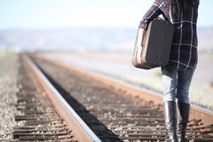 Young lady with retro suitcase on railway. Travel Stock Photography
