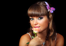 Young lady with rose Stock Photos